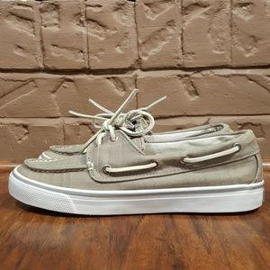Sperry Top Sider Boat Shoes, Tan/White, Size 8M